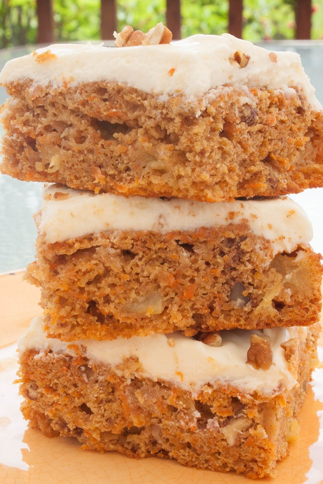 Moist Carrot Pineapple Cake with Pecans