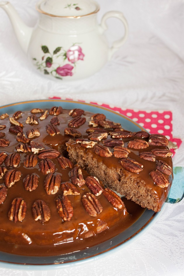 Banana Chocolate Cake with Caramel and Nuts