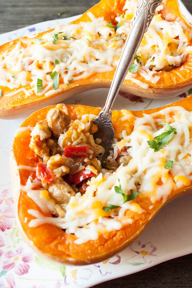 Roasted Butternut Squash Boats with Grilled chicken and Vegetables