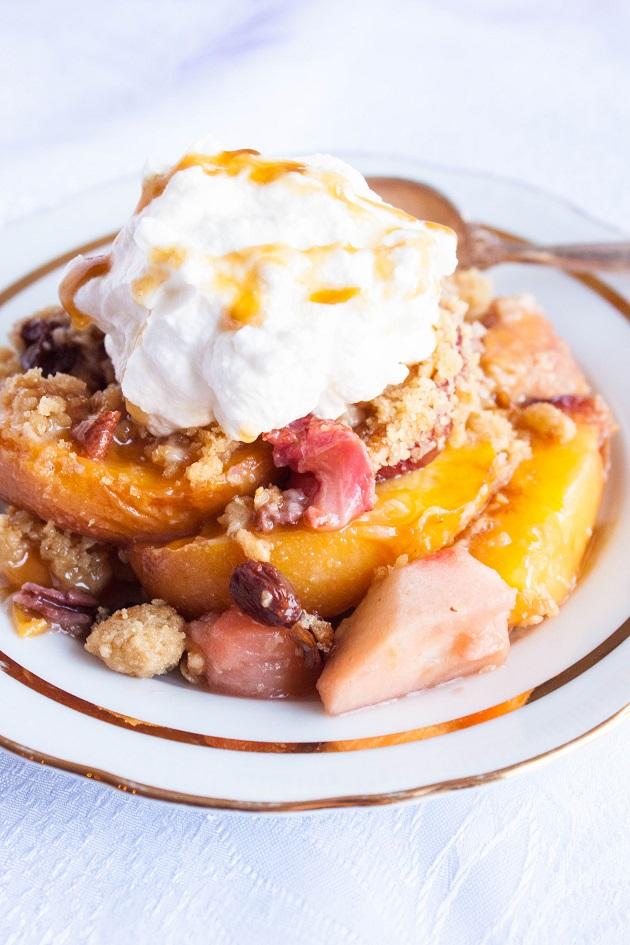 Apple Peach Crisp with Raisins and Pecans