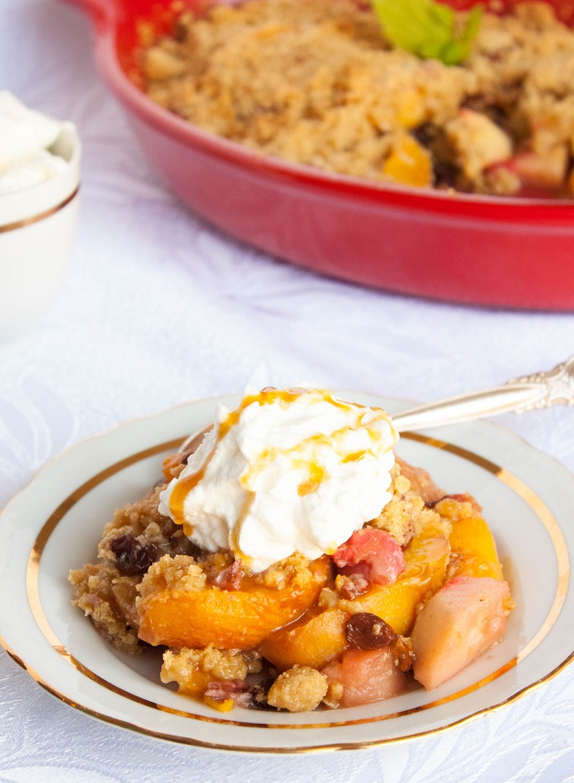 Apple and Peach Crisp with Raisins and Pecans