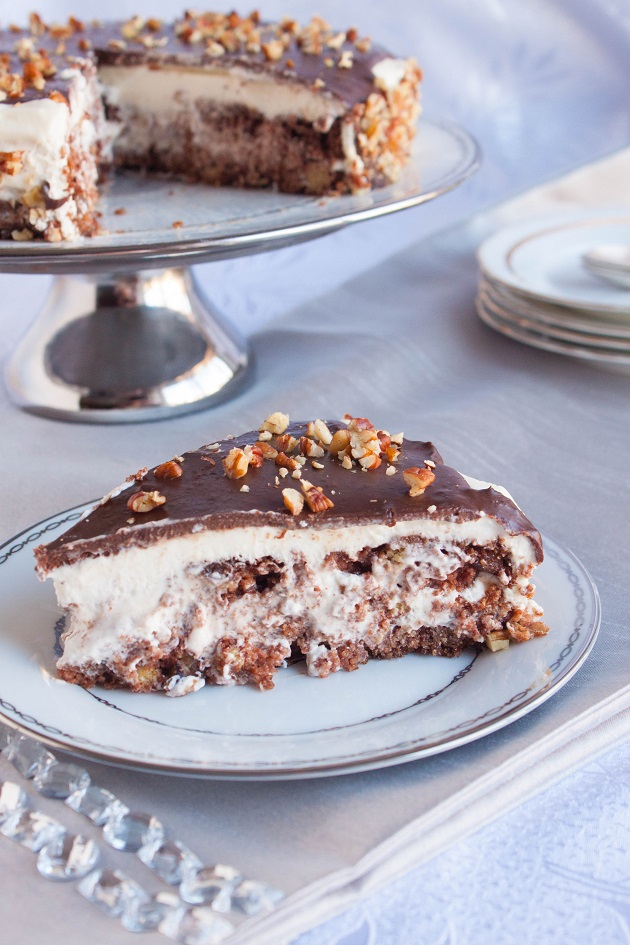 Chocolate Cake with Condensed milk Cream and Pecans
