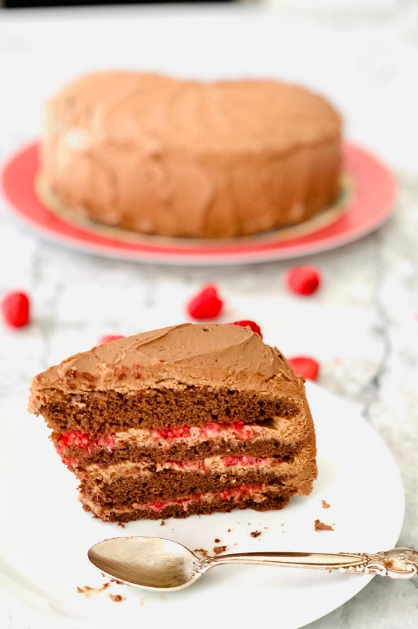 Chocolate Cake with Mousse and Raspberries