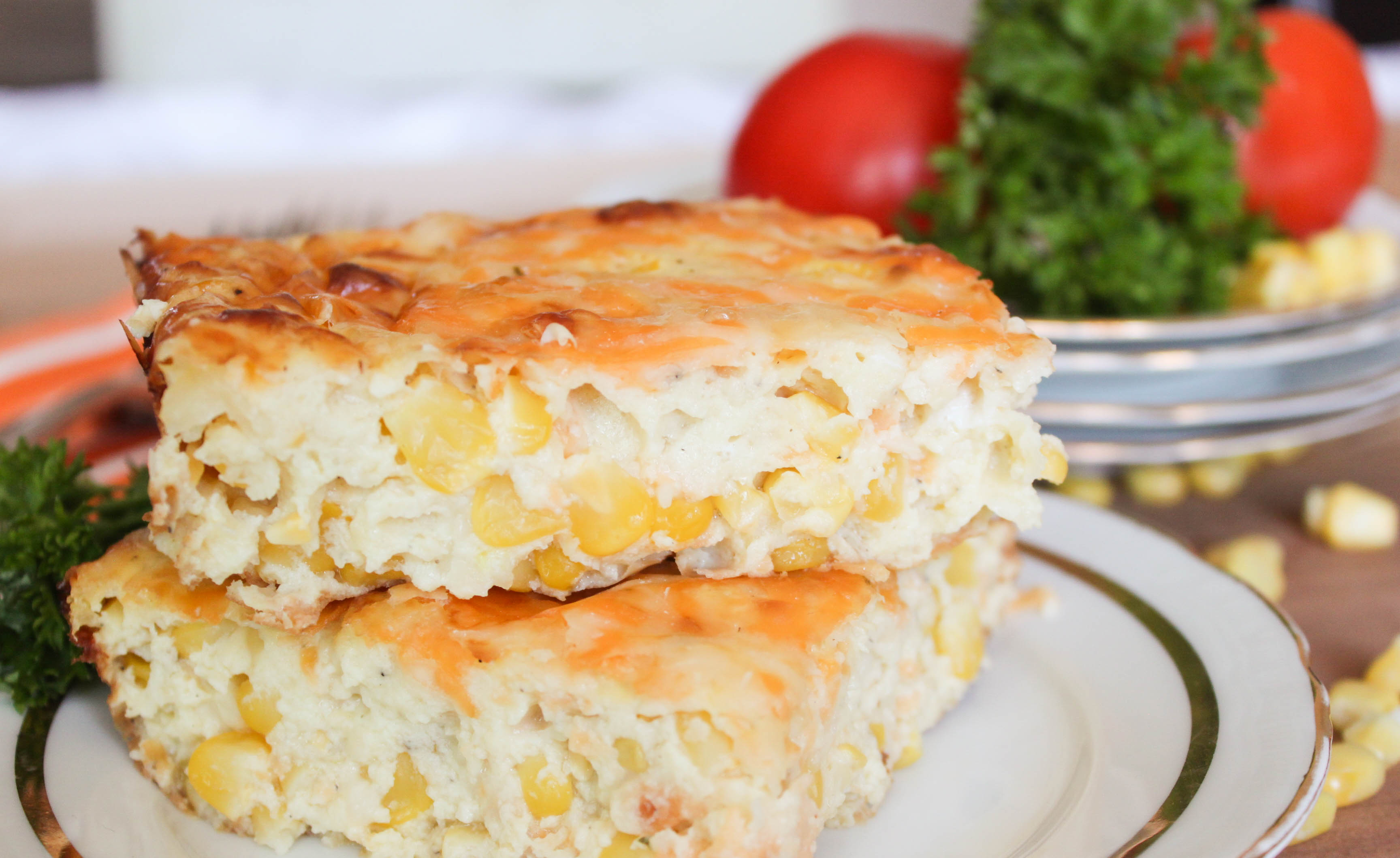 Crustless Corn Quiche - easy and delicious recipe. Great Vegetarian meal or a side dish.