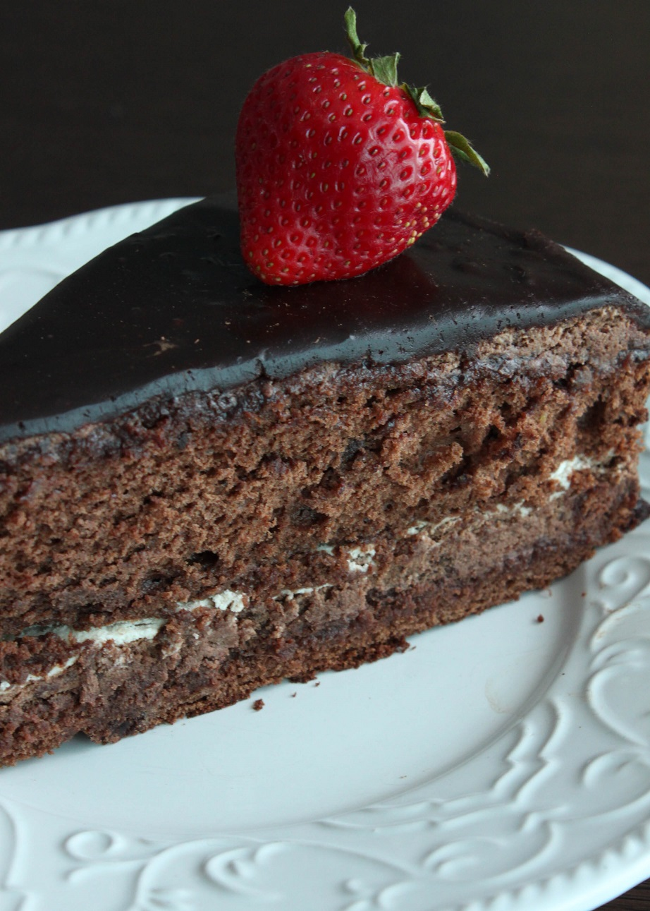 Ultimate Chocolate Cake. Rich Chocolate cake with layers of cream and chocolate.
