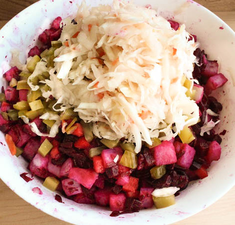 Add Sauerkraut to Russian Salad Vinegrette