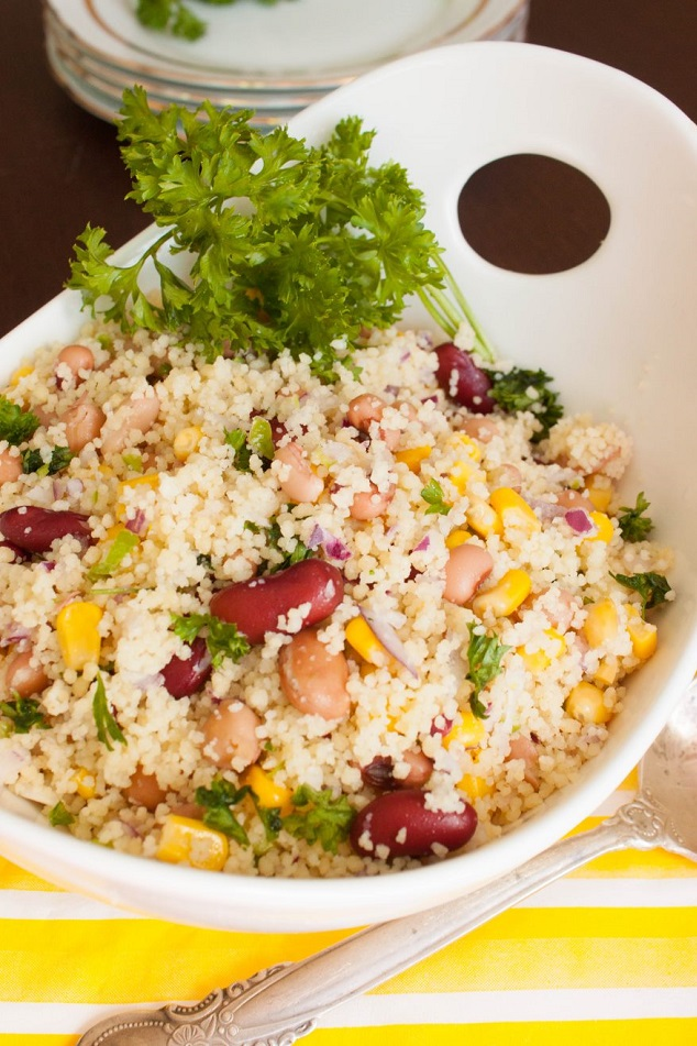 Couscous with Beans, Corn, and Jalapeno