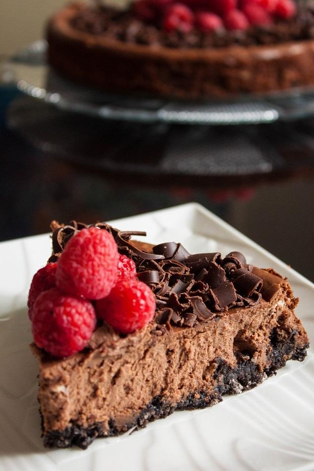 Double Chocolate Cheesecake with Raspberry
