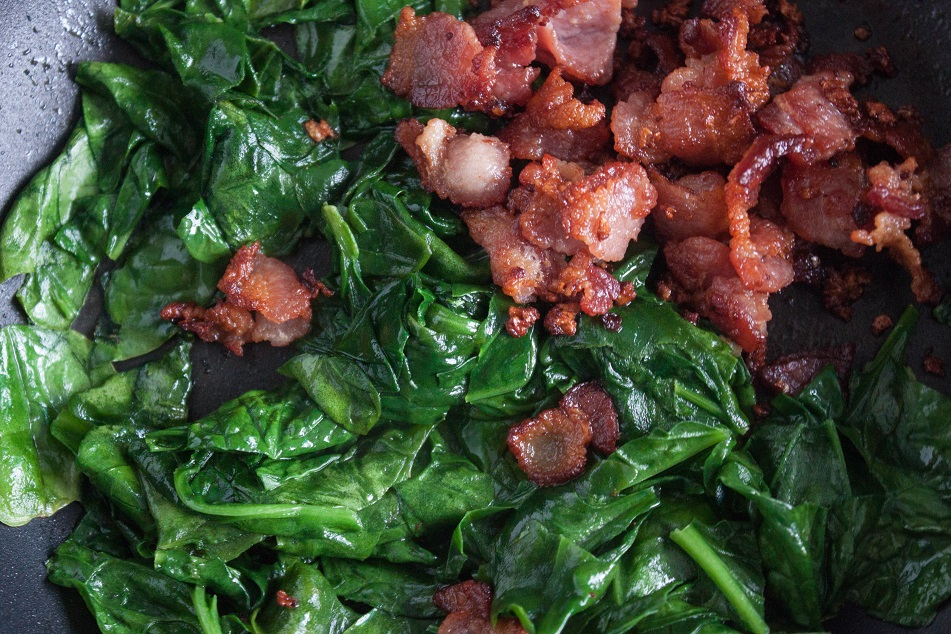 potatoes with bacon and spinach