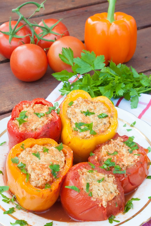 Meat and Rice Stuffed Bell Peppers and Tomatoes - Russian style