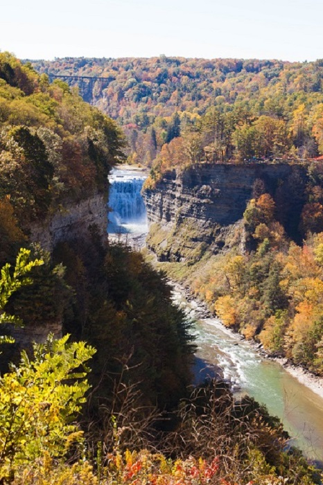 Waterfalls at Letchworth State Park in a fall